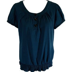 Fred David Stretch Teal Polka Dot Ruched Blouse M